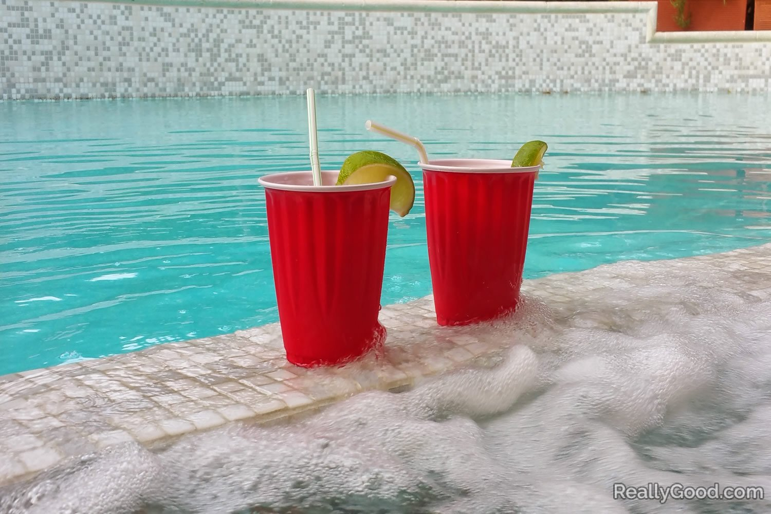 Cocktails in the hot tub